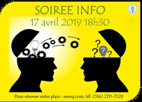 SOIREE INFO, mercredi 17 avril, 18h30... Venez nombreux!