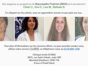 4 nouvelles stagiaires NDA à notre clinique-école... Prenez vite rendez-vous !