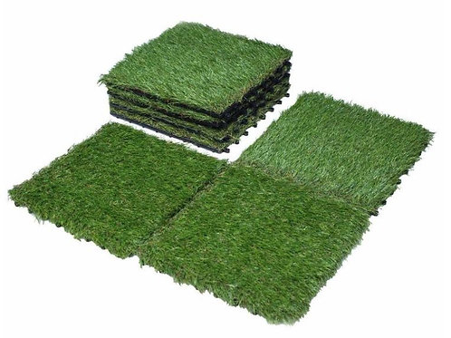 ELASTIC DIY Grass Interlocking Tiles - 300mm*300mm - 6 Tiles Set