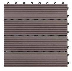 ELASTIC Wood and Plastic WPC DIY Decking Tile, Interlocking Wood Plastic Composite Panels for Balcony 300mm*300mm