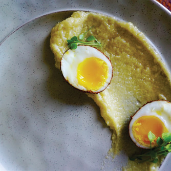CORN MUSH W WILD LEEK ROOT AND DUCK FAT _ SOFT BOILED DUCK EGG COATED IN CAYENNE AND SUMAC _ INDIAN LETTUCE MICROGREENS.jpg