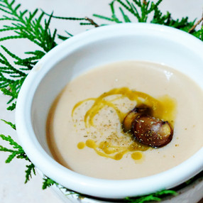 Sunchoke white cedar soup