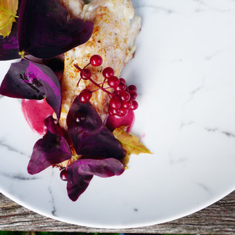 Trout, Wild Cherries, Cherry Vinaigrette, Oxalis