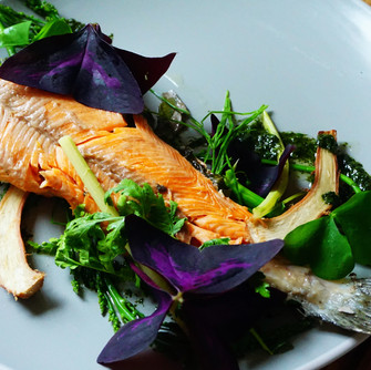 Clay baked trout & sprouts