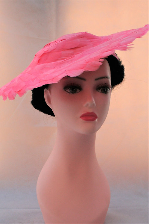 1940s style wide brim feather hat