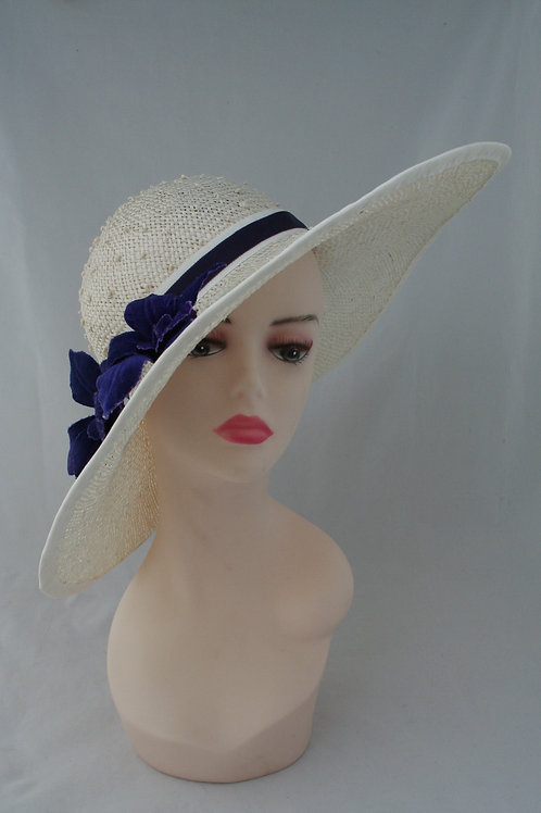 White straw hat with velvet flowers