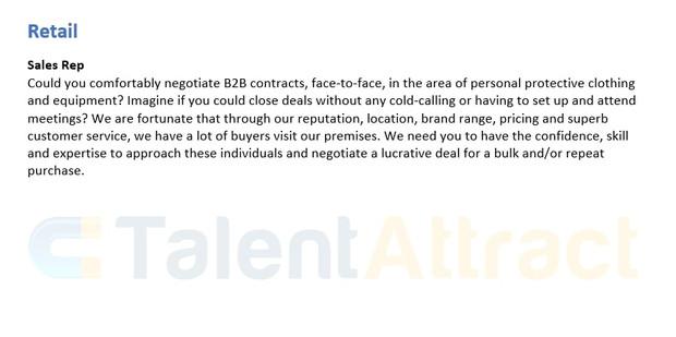 Retail Job Description