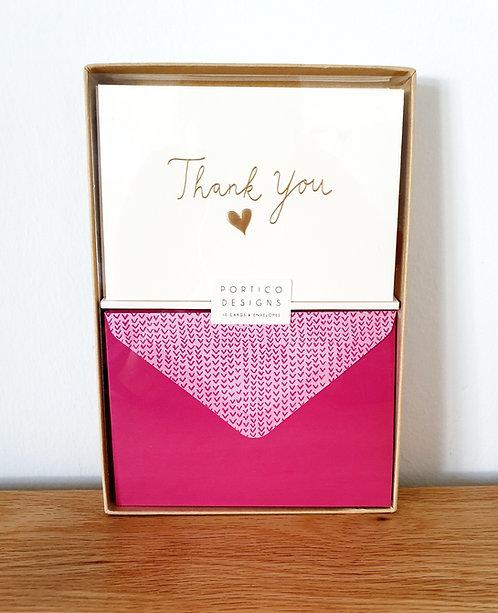"Karten-Set ""Thank you"" Herz"