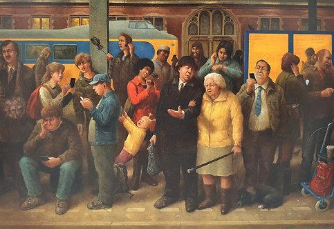 Menschen am Bahnhofsgleis