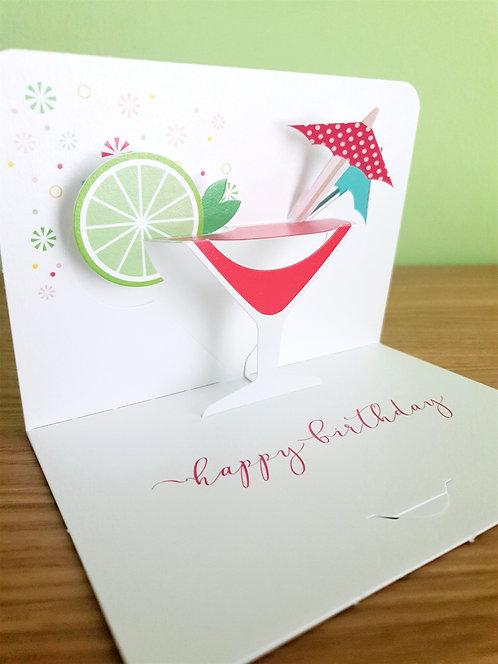 Happy Birthday Cocktail Pop up 3D
