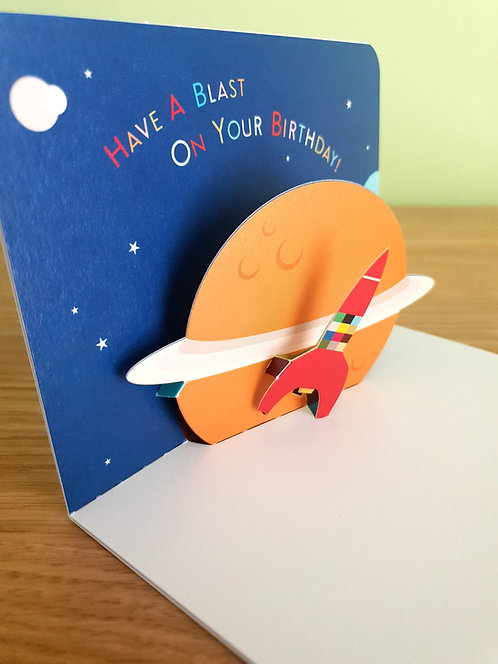 Have a blast on your Birthday Rakete Pop up 3D