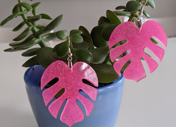 Hot Pink Glitter Leaf Earrings