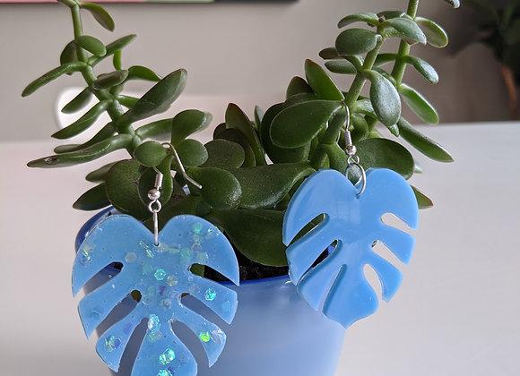 Periwinkle Glitter Leaf Earrings