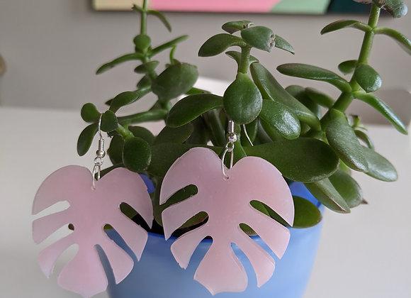 Baby Pink Leaf Earrings