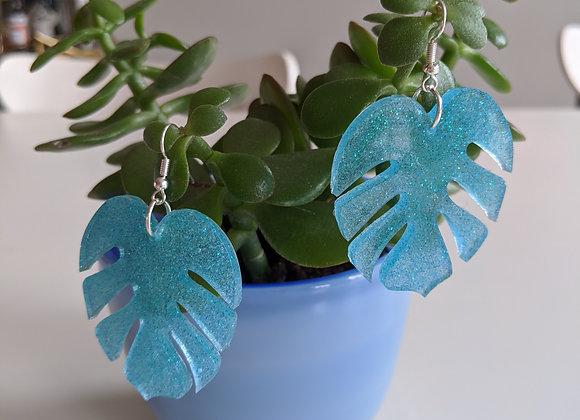Teal Glitter Leaf Earrings