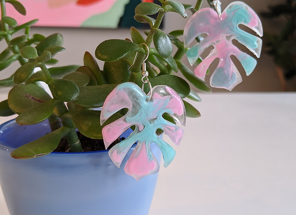 Cotton Candy Leaf Earrings