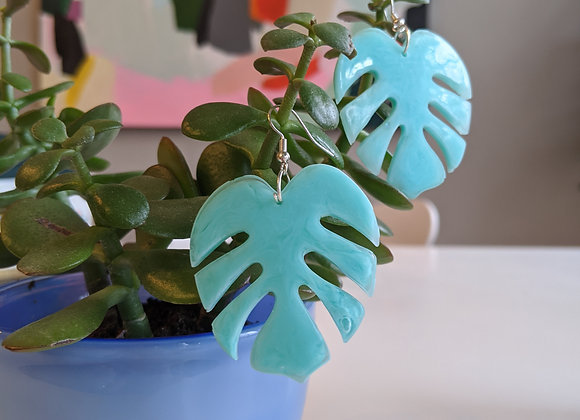 Pale Green Marbled Monstera Earrings