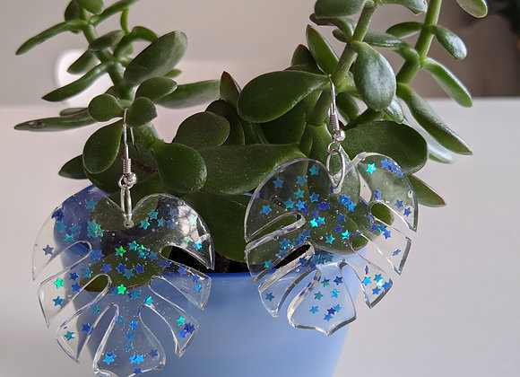 Blue Star Confetti Leaf Earrings