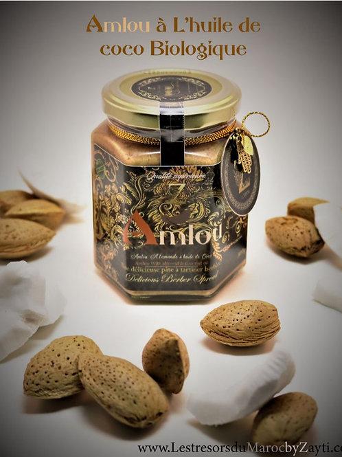 Amlou aux Amandes à Huile de Coco & au Miel D'oranger 300 g (100% Biologique) .