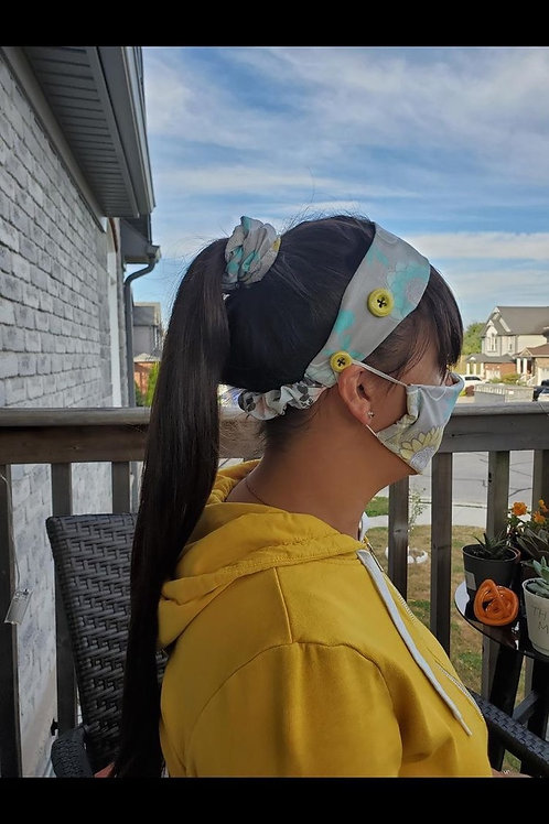 Adult Mask & Headband with Buttons Set
