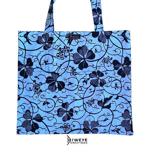 TOTE BAG 100% WAX - Bleu fleuri