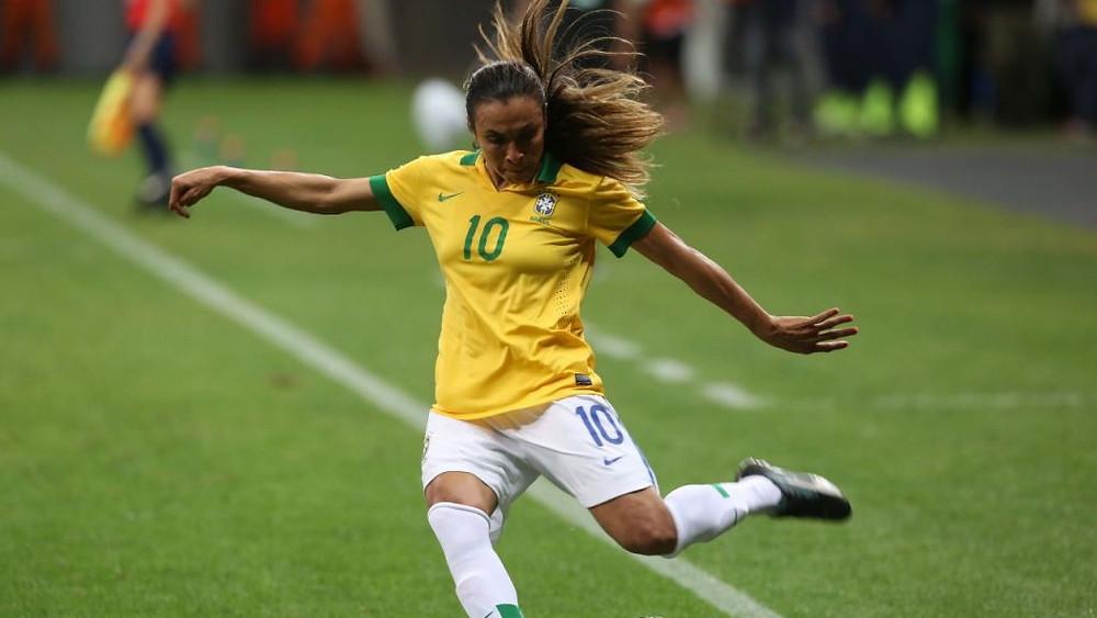 Marta, do Brasil, durante o jogo contra a Argentina pelo torneiro Internacional em Brasília, 10 dez. 2014. Foto: Bruno Domingos/Mowa Press.