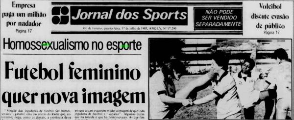 Capa do Jornal dos Sports, 17 jul. 1985. Foto: Reprodução