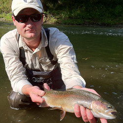 Chris with Beautiful Rainbow Trout