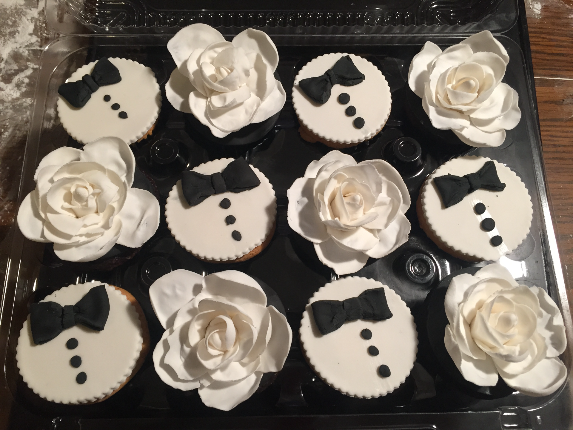 Suit and Flower Cupcakes