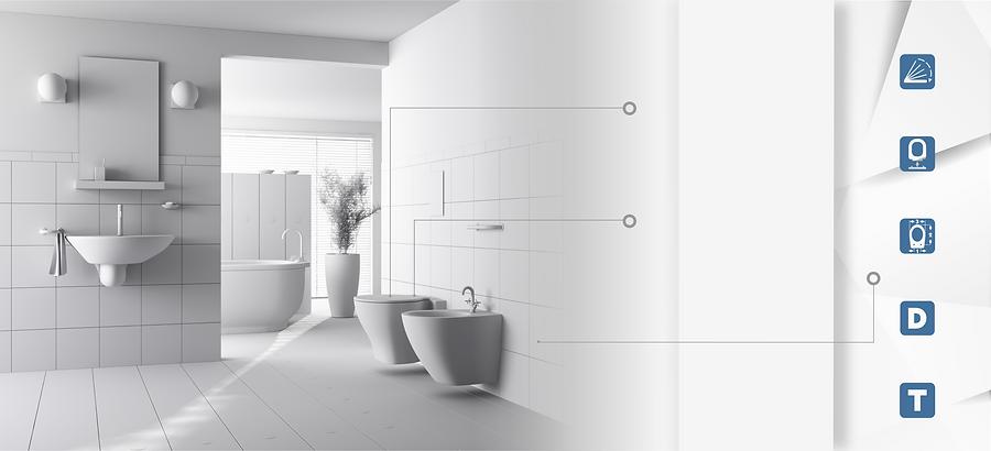 Nowocześnie urządzona łazienka. Widok na umywalkę, wannę, sedes i bidet.