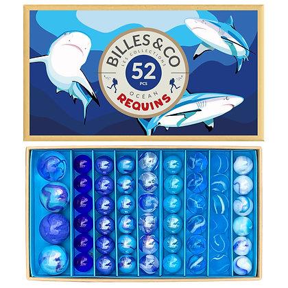 Box of 52 marbles- Shark Blue