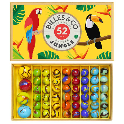 Box of 52 marbles - Nature Jungle