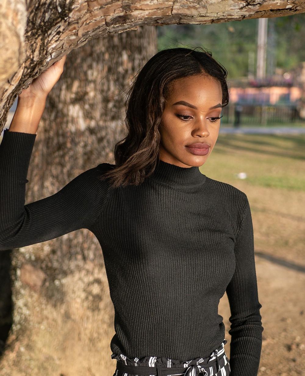 Chantelle Tatyana blog black turtleneck top