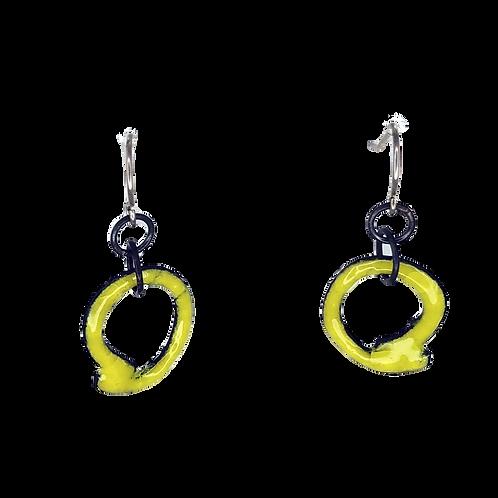 Yellow Enamel Scribble Earrings