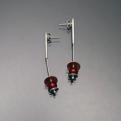 Long Tube Post Drop Earrings