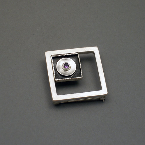 Open Square Frame Pin/Pendant with Amethyst