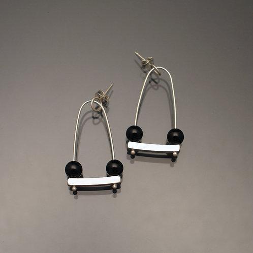 Swings Post Earrings with Black Onyx