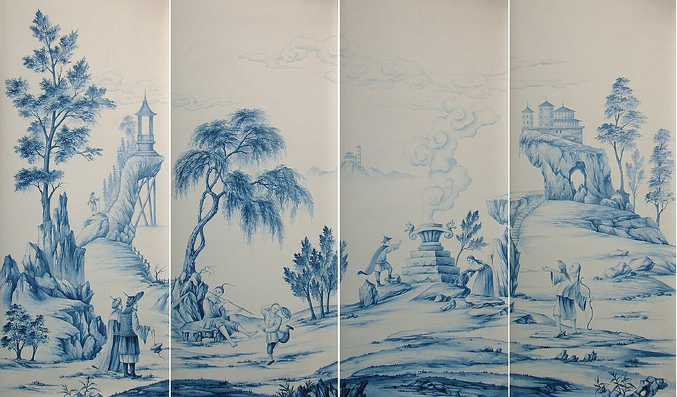 Yrmural studio hand painted wallpaper chinoiserie for Chinoiserie mural wallpaper