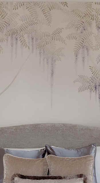Wisteria on Light Brown - Japanese Desig