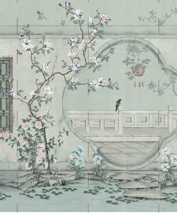 Emperor Garden In Light Blue - Chinoiser