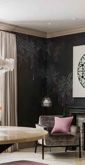 Wisteria on Black - Japanese Design Wall