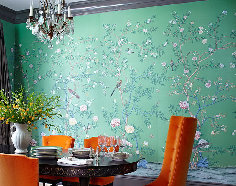 Chinoiserie Wallpaper Hand Painted Chinoiserie Wallpaper