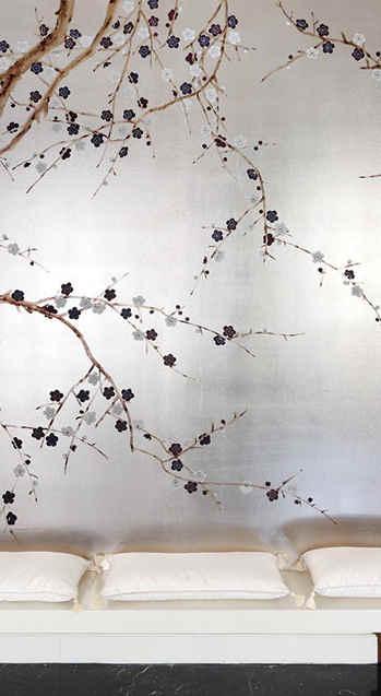 Plum Blossom On Silver - de Gournay Plum