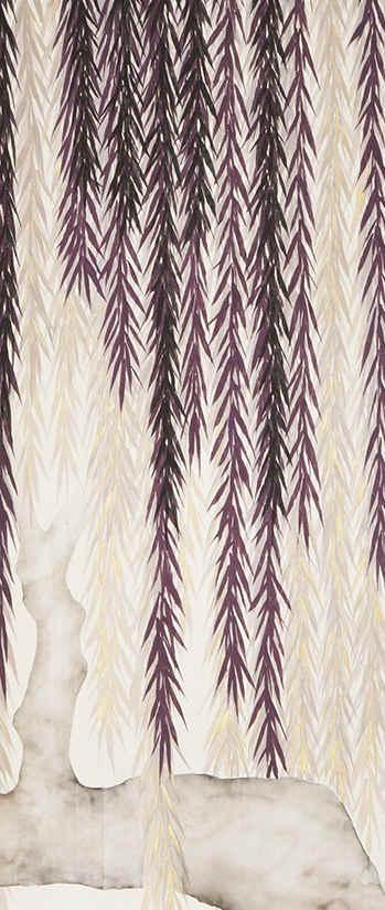 Willow On Silver Mica Silk - Japanese De