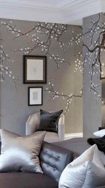 Plum Blossom On Grey - de Gournay Plum B