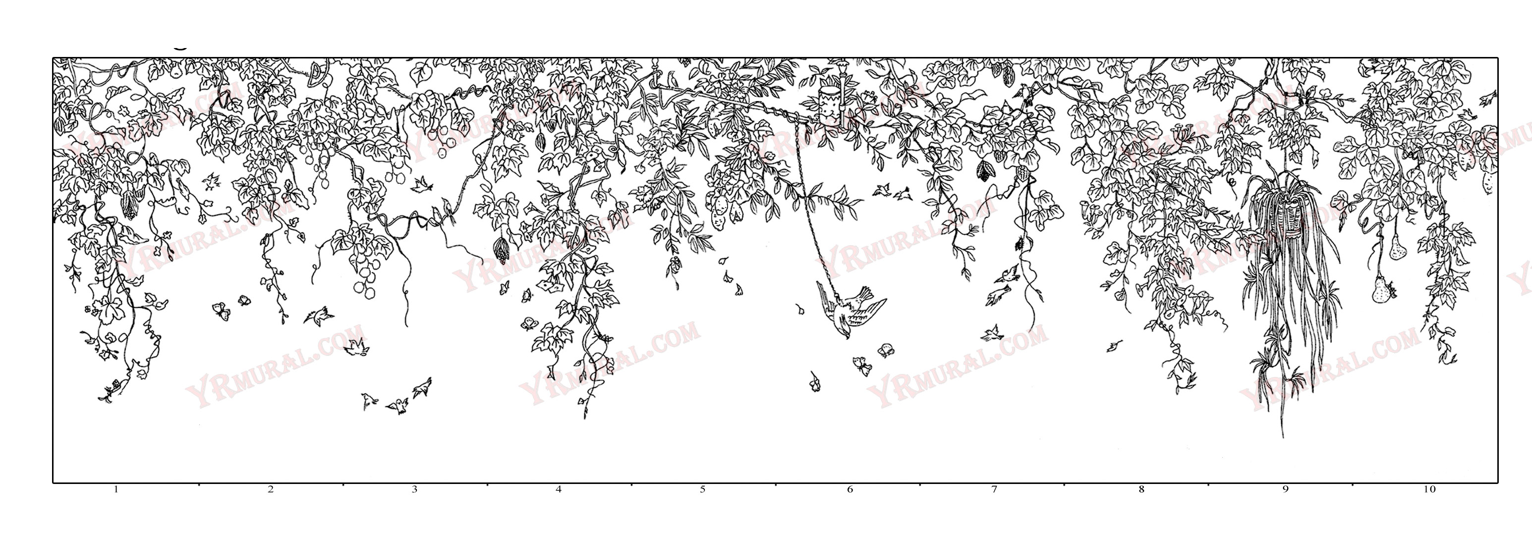 T-008 Vine Garden - chinoiserie wall