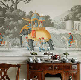 Early Views of India in Paille Color Hand Painted Wallpaper