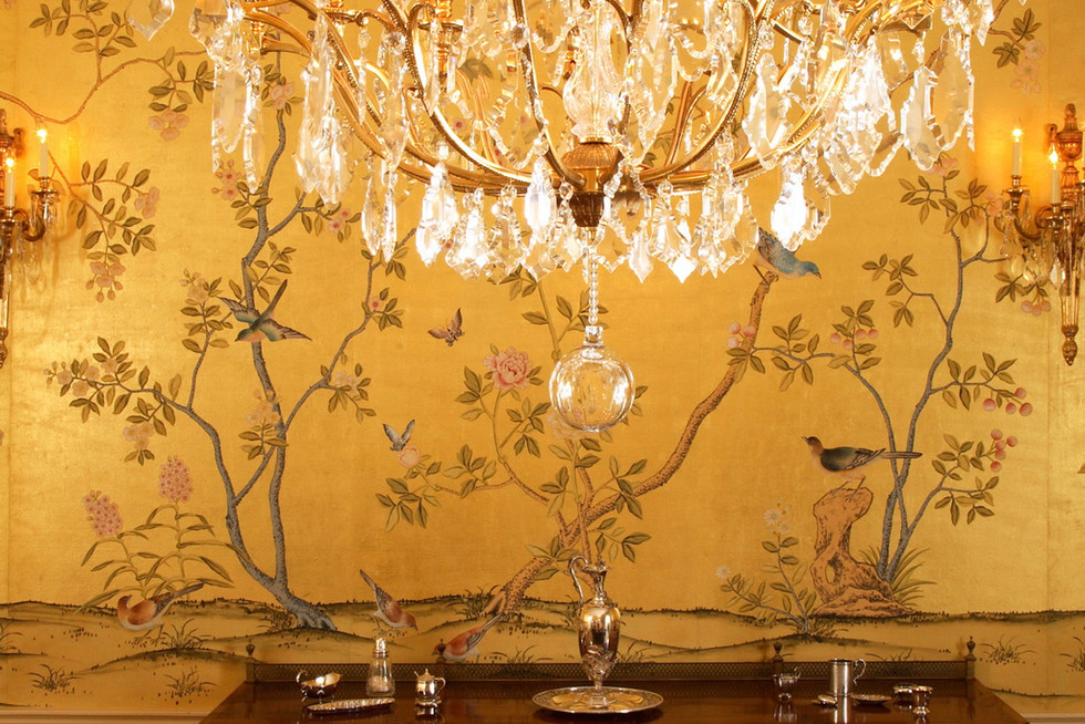 Badminton On Gold - Gold Chinoiserie Wal