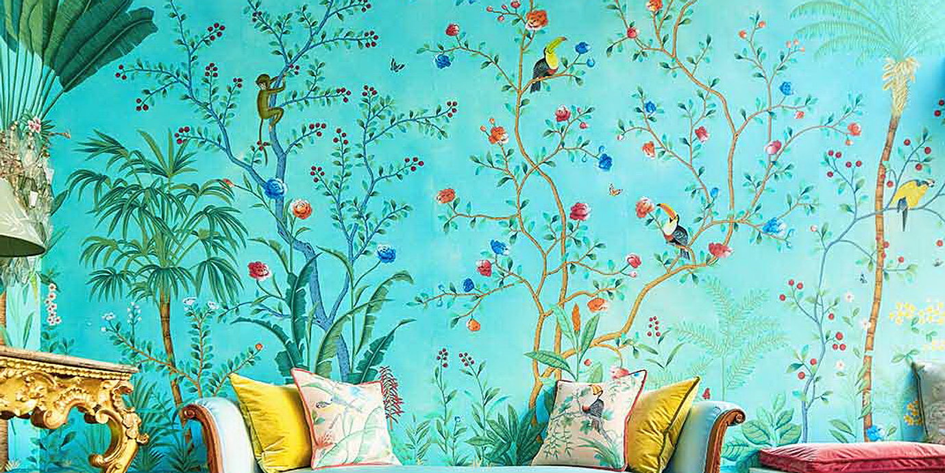 Amazonia Design Chinoiserie Wallpaper In Vivid Special Colorway On Customized Blue Silk 11
