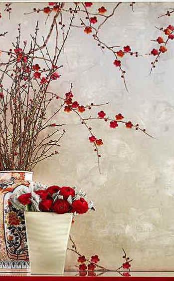 Plum Blossom On Antique Tarnished Gold -